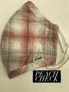 Hemp Face Mask Peach Check