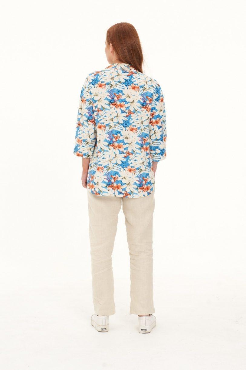 Ladies Hemp Floral Shirt