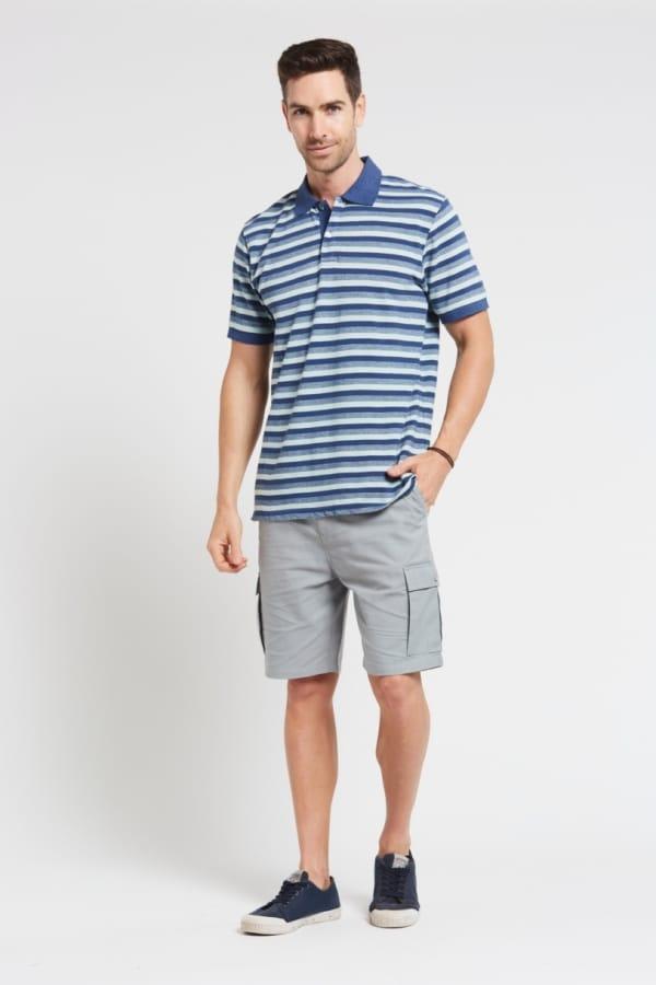 Men's Hemp Cargo Shorts & Hemp Blue Polo