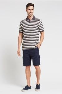 men's Hemp Stripe Polo T.Shirt