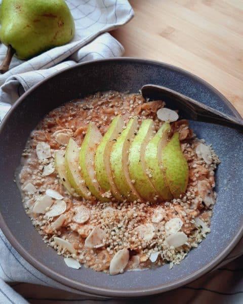 Pear, Hemp and Caramel Oat Breakfast Bowl